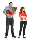 Valentine: Woman Annoyed with Valentine's Gifts — Stock Photo