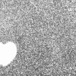 Foto Stock: Glitter: Heart Drawn in Silver Glitter