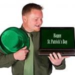 Leprechaun: Happy St. Patrick's Day on Laptop — Stock Photo