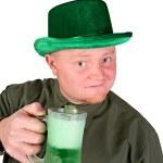 Leprechaun: Having A Green Beer — Stock Photo