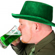 Leprechaun: Man Drinking Green Beer — Stock Photo