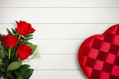Valentine's: Heart Candy Box and Flowers — Stock Photo