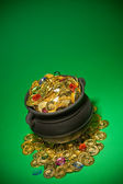 Pot of Gold: Overflowing with Jewels and Coins — Стоковое фото