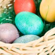 Easter: Basket Full Of Colorful Eggs — Stock Photo