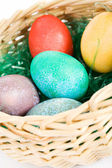 Easter: Basket Full Of Colorful Eggs — Stok fotoğraf