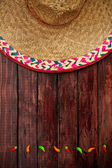 Background: Sombrero and Pepper Background — Zdjęcie stockowe