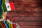 Background: Mexican Flag on Wooden Background — Stok fotoğraf