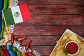 Background: Cinco De Mayo Celebration with Flag and Snack — Stok fotoğraf