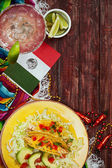 Background: Cinco De Mayo Celebration With Tacos and Margarita — Zdjęcie stockowe