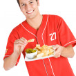 Baseball: Fan Eating Nachos — Stock Photo