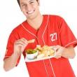 Baseball: Fan Eating Nachos — Stock Photo
