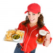 Baseball: Nachos and Beer for Game Snack — Stock Photo