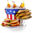 Summer: Burgers, Hot Dogs, Corn and Soda — Stock Photo #44761215