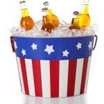 Summer: Beer in a Patriotic Bucket — Stock Photo #44761293