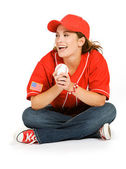 Baseball: Baseball Fan Laughing — Stockfoto
