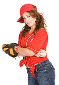 Baseball: Tough Girl with Baseball — Foto de Stock