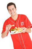Baseball: Fan Eating Nachos — Stok fotoğraf