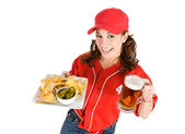 Baseball: Nachos and Beer for Game Snack — Foto Stock