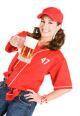 Baseball: Having a Frosty Mug of Beer — Stock Photo