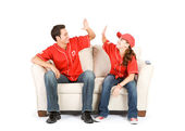 Baseball: Team Winning High Five — Stock Photo