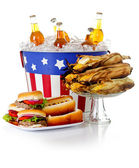 Summer: Burgers, Hot Dogs, Corn and Soda — Stock Photo