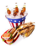 Summer: Wide Angle of Patriotic Holiday Food — Stockfoto