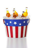 Summer: Beer in a Patriotic Bucket — Stockfoto