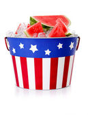 Summer: Bucket Full of Watermelon — Foto de Stock