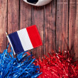 Soccer: France Flag With Poms and Ball — Stock Photo