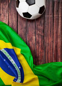 Soccer: Brasil Flag and Ball Background — Stock Photo