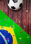 Soccer: Brasil Ball and Confetti Background — Stock Photo