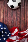 Soccer: United States Ball and Flag Background — Stock Photo