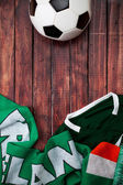 Soccer: Ireland Ball Shirt and Scarf Background — Stock Photo