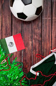 Soccer: Mexico Shirt and Flag Background — Stock Photo