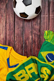 Soccer: Brasil Ball Jersey And Scarf Background — Stock Photo