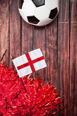 Soccer: England Flag and Poms Background — Stock Photo