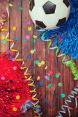 Soccer: Competition Party Background with Ball and Confetti — Stock Photo