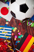Soccer: International Flag and Ball Background — Stock Photo