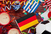 Soccer: Beer and International Flag Celebration Background — Stock Photo