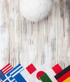 Soccer: Multi-National Flag Background For International Competi — Photo