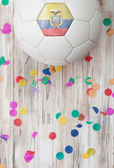Soccer: Ecuador Background With Confetti — Stock Photo