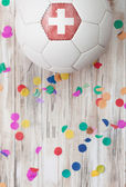 Soccer: Switzerland Background With Confetti — Stock Photo