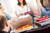 Students: Taking A Break From Studying For Pizza — Stock Photo
