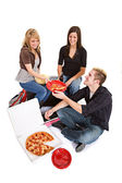 Students: Friends Hanging Out Eating Pizza — Foto de Stock