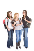 Students: Group Of Teenage Student Female Friends — Zdjęcie stockowe