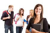 Students: Group of Friends with Books and Backpacks — Stock Photo