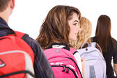 Students: Profile of Female Student In Line — Stock Photo