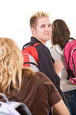 Students: Lined Up with Backpacks — Stock Photo