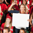 Fans: Woman Cheers for Team with Blank Sign — Stock Photo #47544323