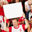 Fans: Team Fan Holds Up Blank Sign — Stock Photo #47544337